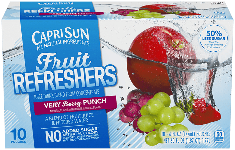 Capri Sun Refreshers Very Berry Punch Juice Drink 10 - 6 fl oz Pouches