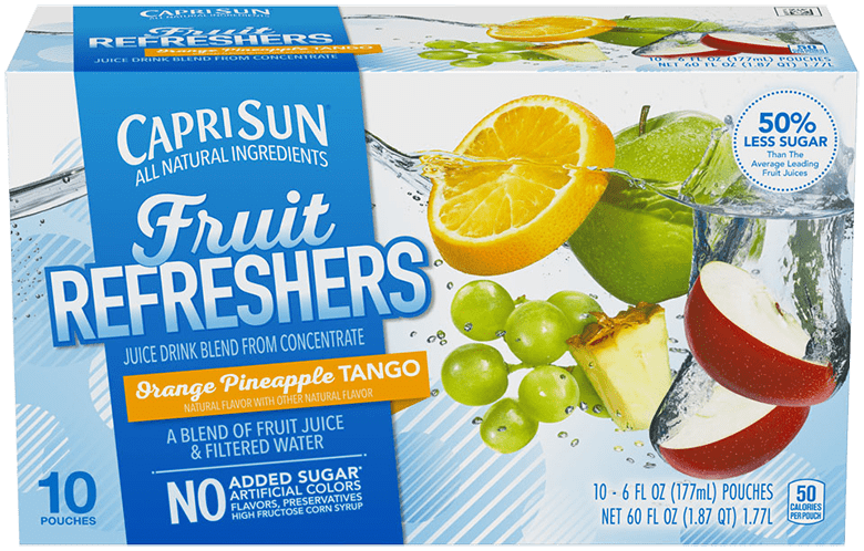 Capri Sun Refreshers Orange Pineapple Tango Juice Drink 10 - 6 fl oz Pouches