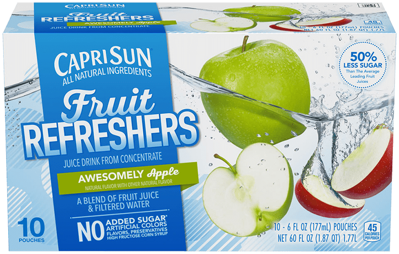 Capri Sun Refreshers Awesomely Apple Juice Drink 10 - 6 fl oz Pouches