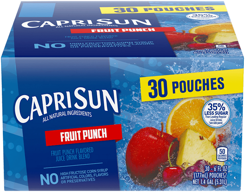 Capri Sun Fruit Punch Flavored Juice Drink Blend 180 fl oz Box (30-6 fl oz Pouches)