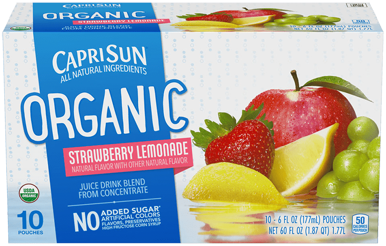 Capri Sun Organic Strawberry Lemonade Ready-to-Drink Soft Drink 10 - 6 fl oz Pouches