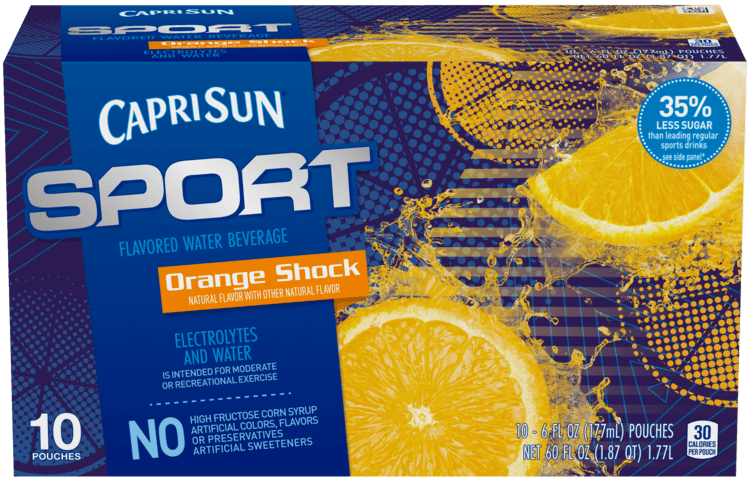 Capri Sun Sport Orange Shock Flavored Water Beverage 10 - 6 fl oz Pouches
