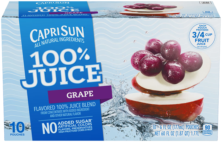 Capri Sun 100% Juice Grape 10 - 6 fl oz Pouches