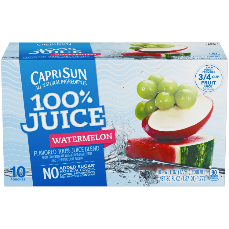 Capri Sun 100% Juice Watermelon 10 - 6 fl oz Pouches