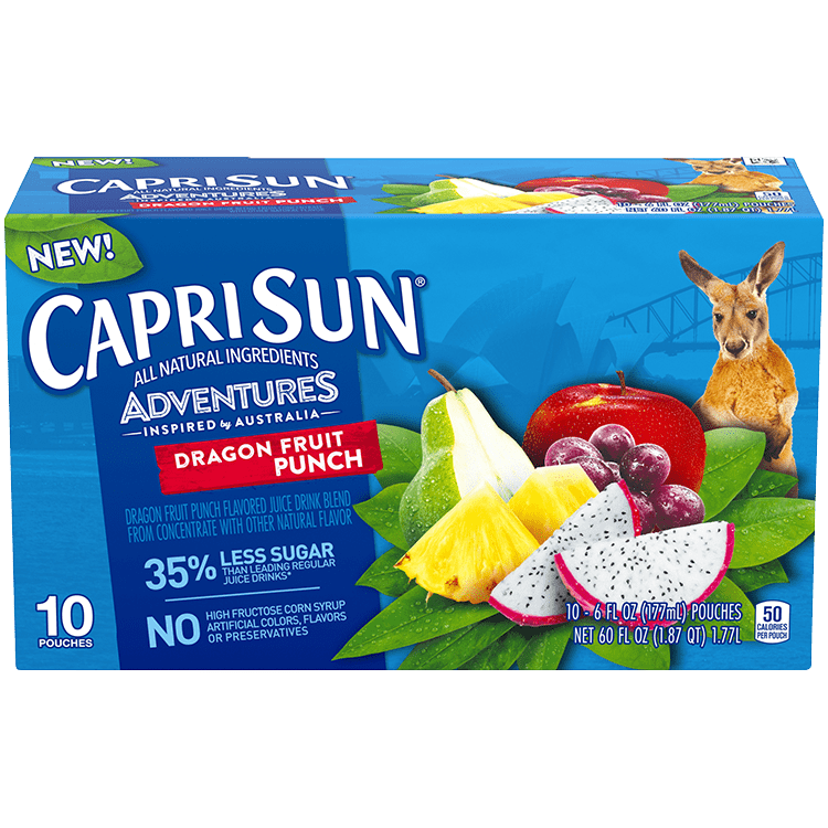 Capri Sun Adventures Dragon fruit Punch, 10 - 6 oz Pouches