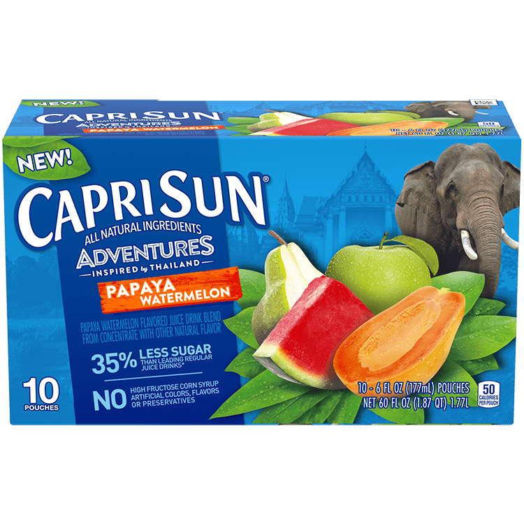 Capri Sun Adventures Papaya Watermelon, 10 - 6 oz Pouches