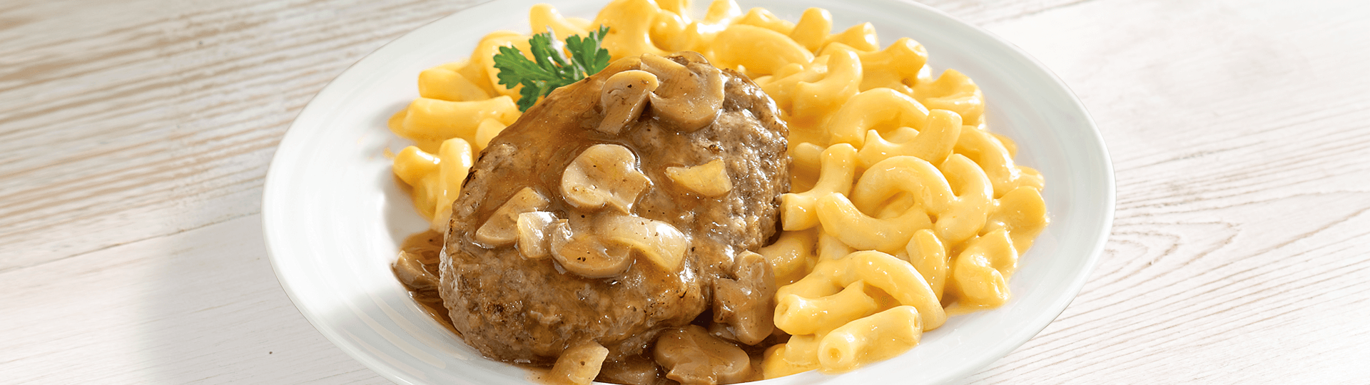 SALISBURY STEAK WITH MACARONI & CHEESE