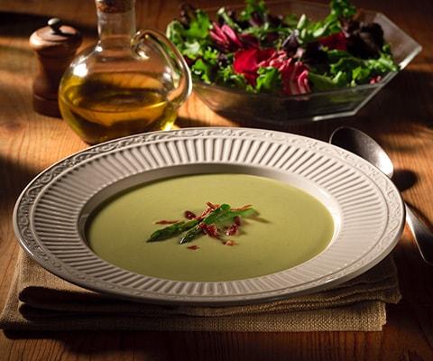 Creamy Asparagus Soup with Prosciutto