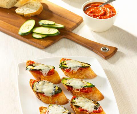 Marinara Zucchini and Cheese Crostini