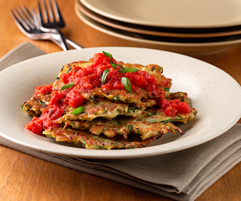 Pan-Fried Zucchini Cakes with Marinara Sauce