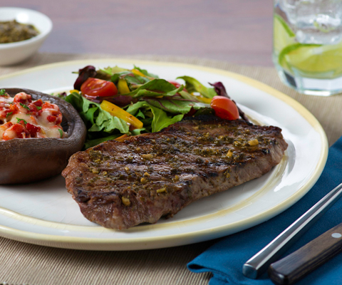 Pesto Grilled Steaks and Portabellas