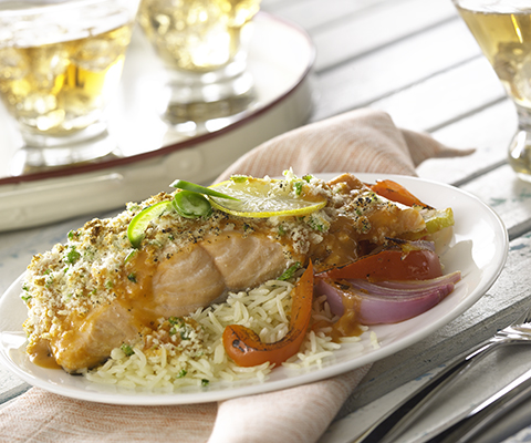 Roasted Garlic Salmon with Vegetables