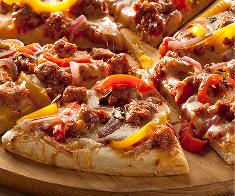 Sausage Pizza with Roasted Peppers and Onions
