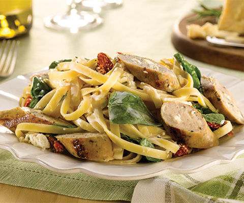 Spinach and Feta Chicken Sausage with Fettuccine Alfredo