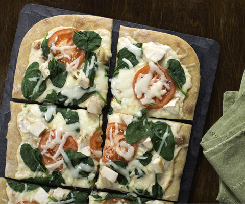White Chicken Spinach Pizza