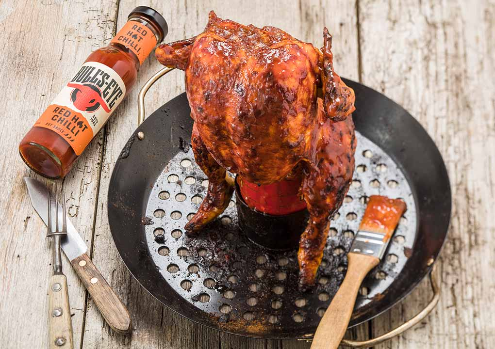 Hot BBQ beer-can chicken recipe