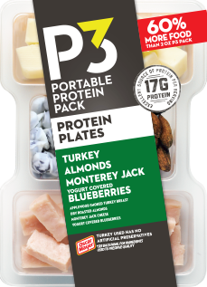 Oscar Mayer P3 Turkey, Almonds, Monetary Jack & Blueberries Portable Protein Pack Tray, 3.2 oz
