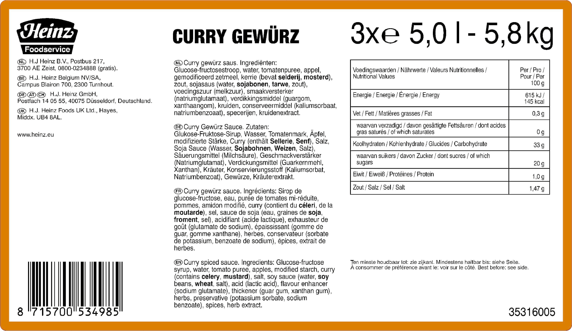 Heinz SOM Pittige Curry Gewurz 5L