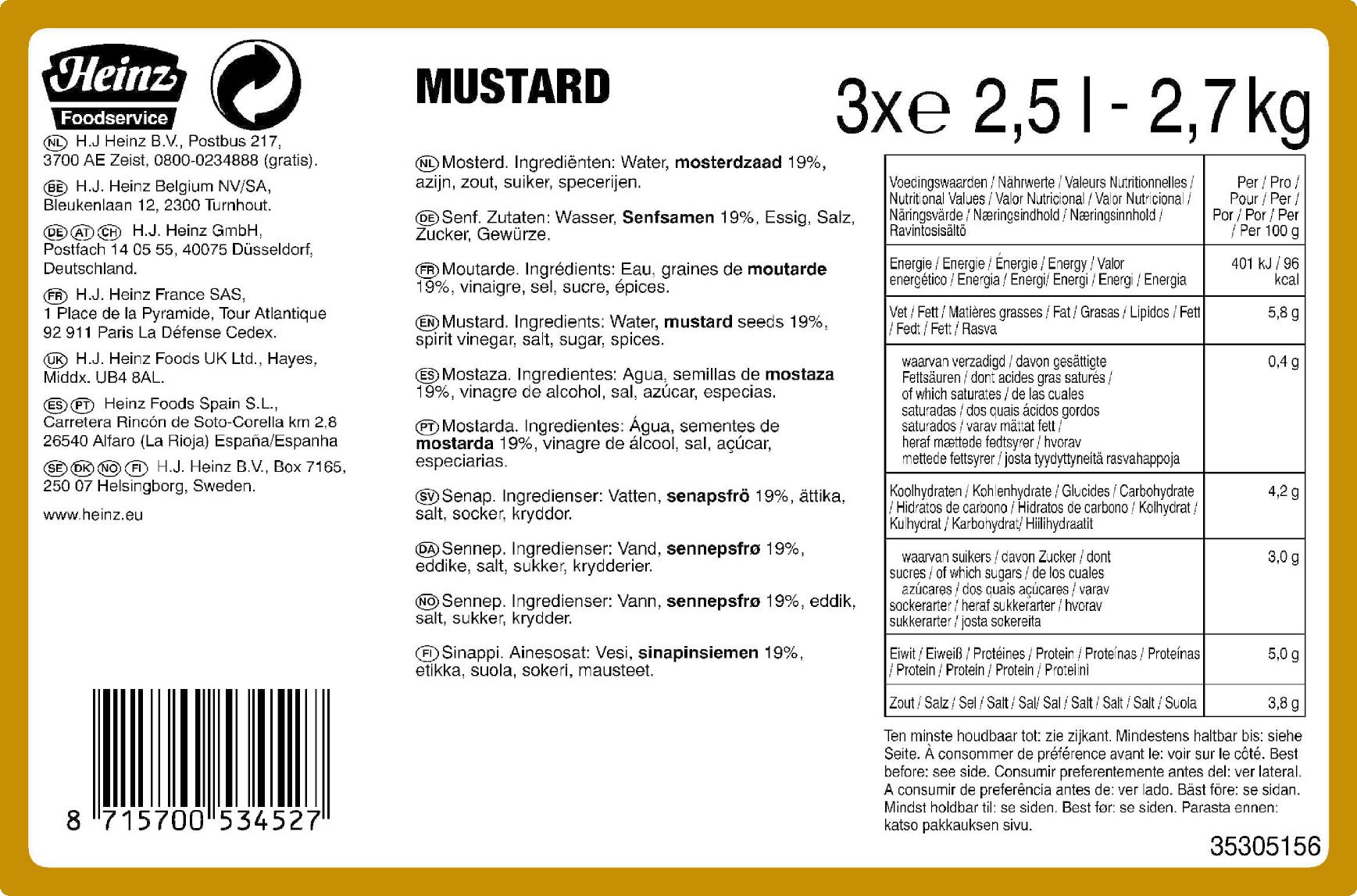 Heinz Mustard 2.5L Dispenser pouch