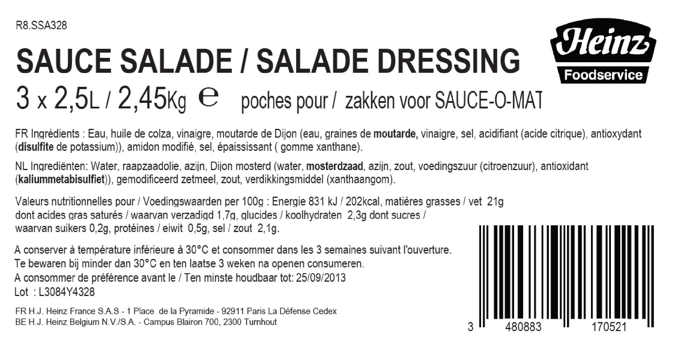 Heinz SOM Salade Dressing 2.5L