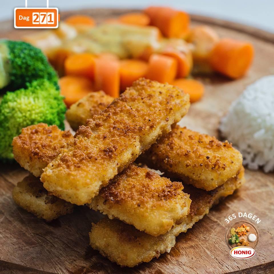 Broccoli met groentesaus en vissticks