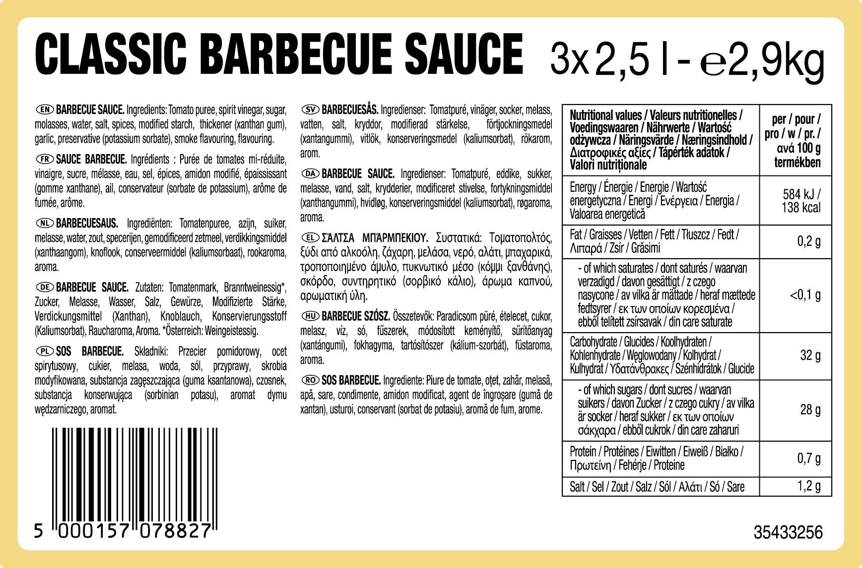 Sos BBQ Heinz 2.5L dyspenser