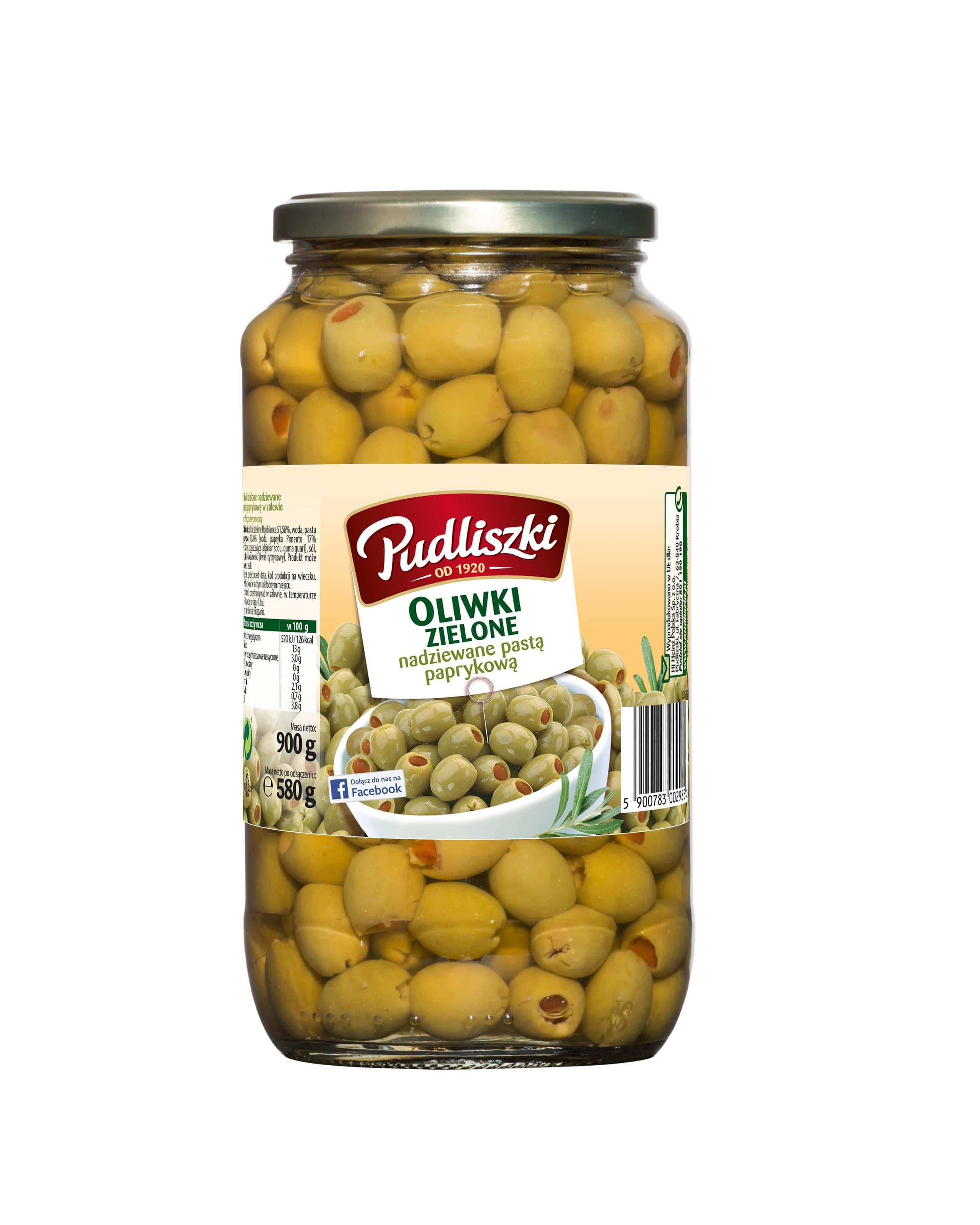 Zielone oliwki nadziewane papryką Pudliszki 900g szklany słoik image