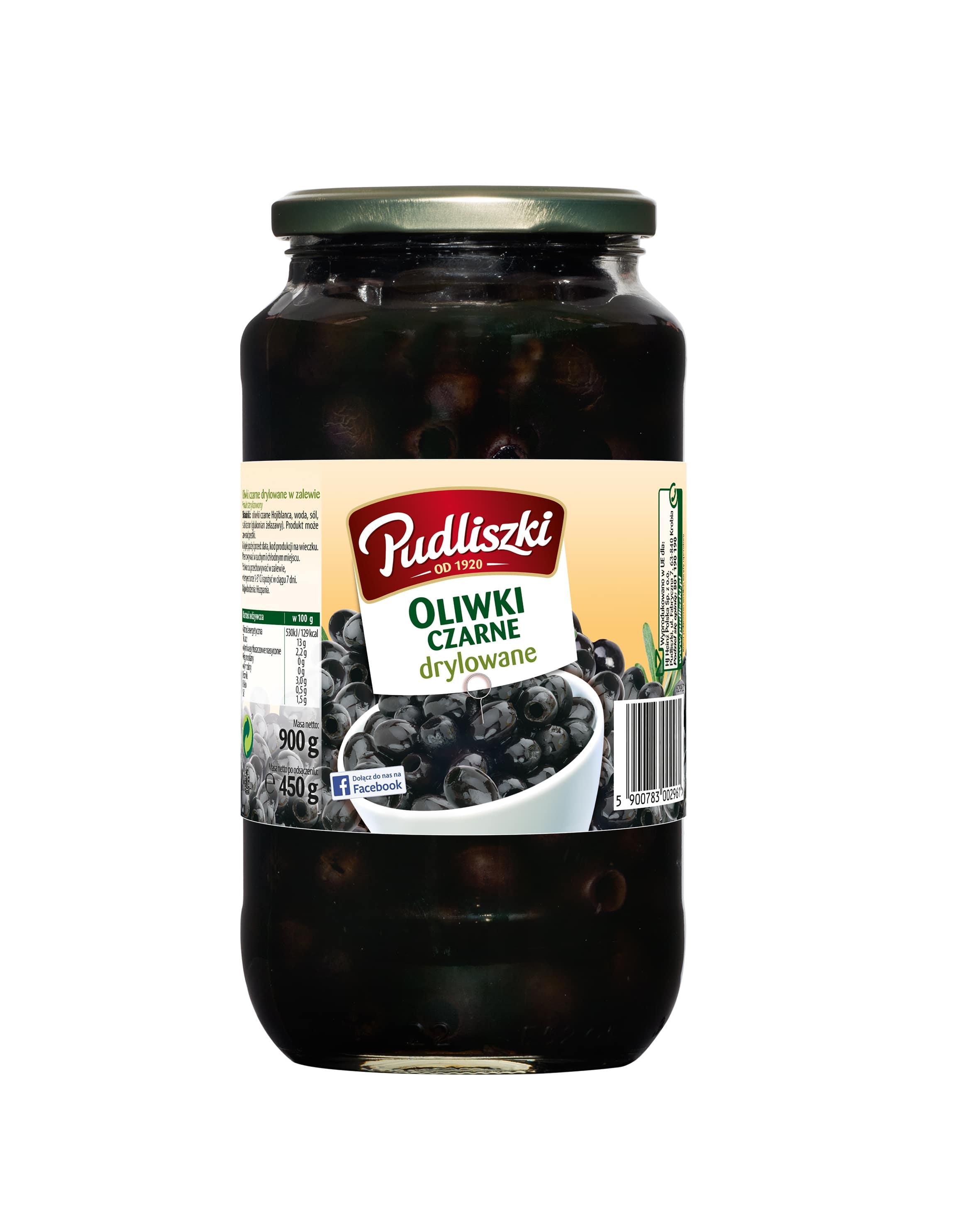 Oliwki czarne Pudliszki 900g szklany słoik image