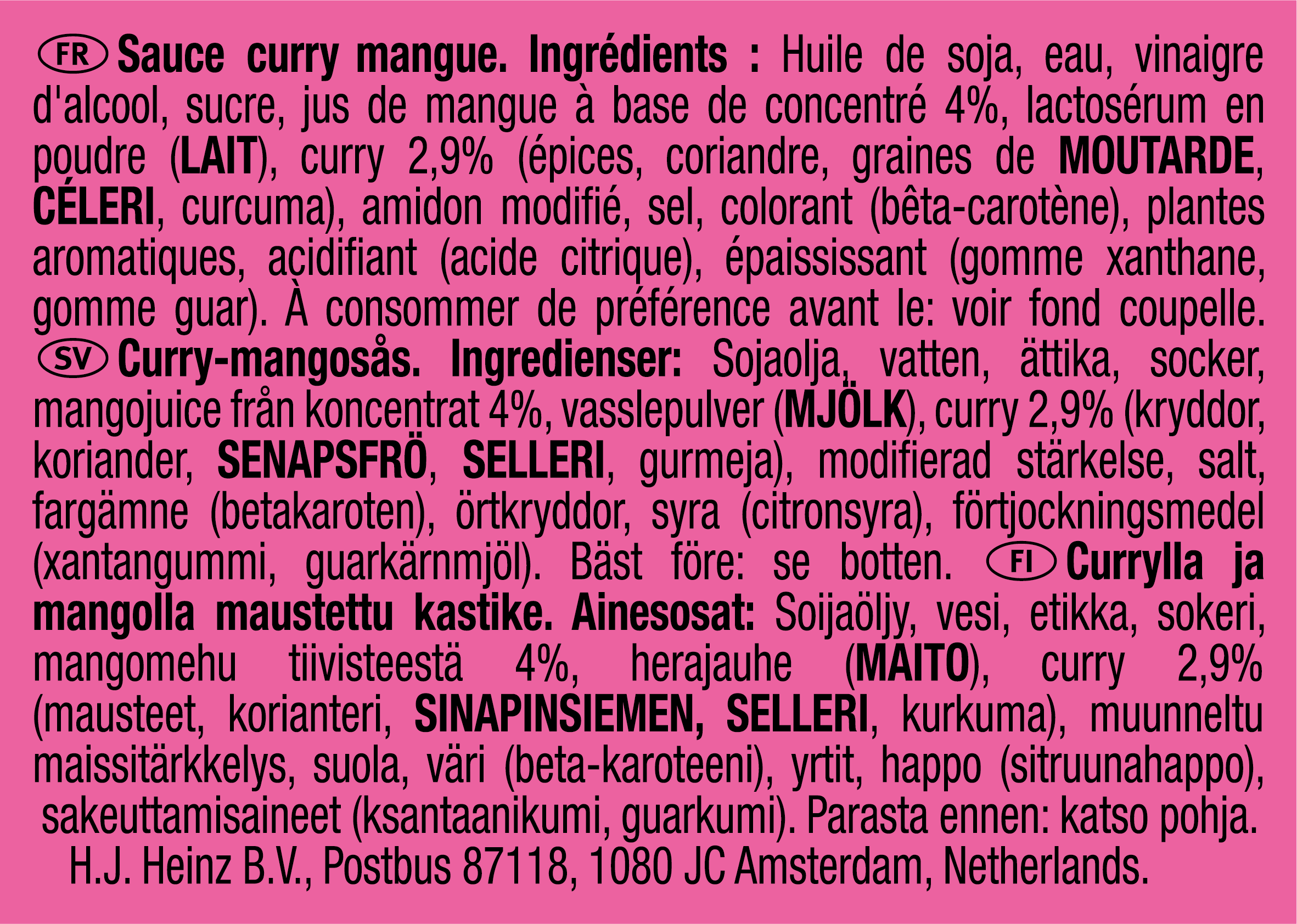 Heinz Curry-Mango 25g Coupelle