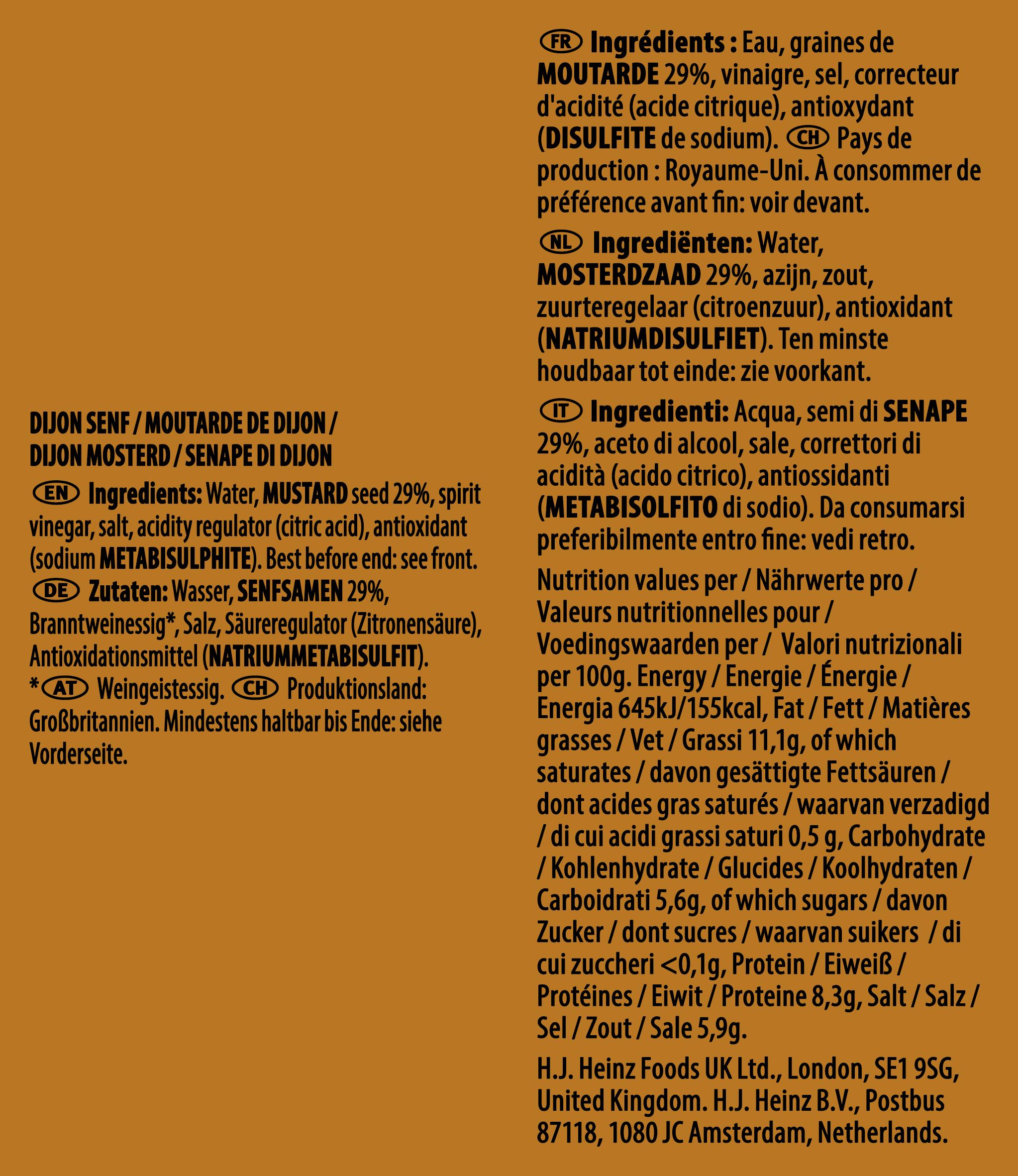 Heinz Dijon Mustard 7ml Sachet