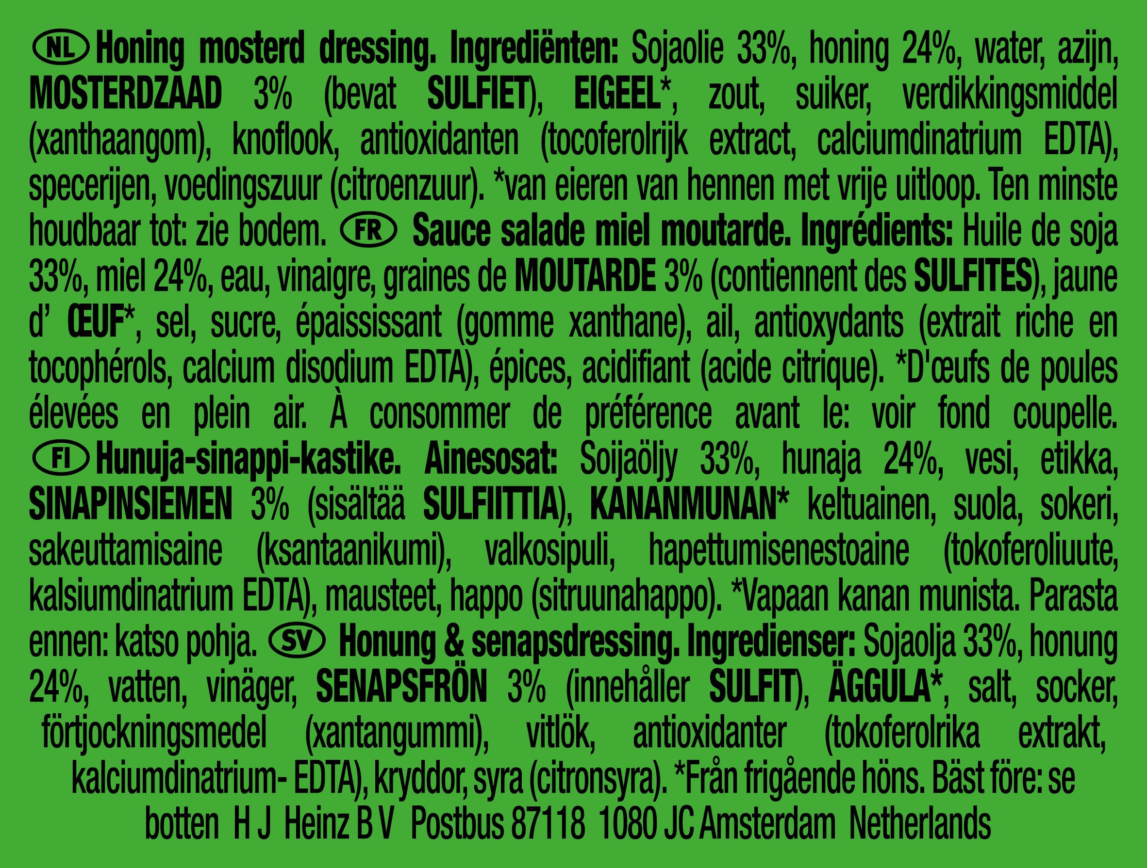 Heinz Honing mosterd Dressing dippot 25ml
