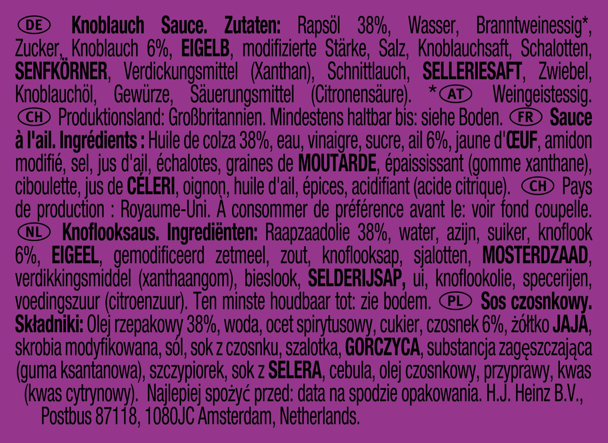 Heinz knoflooksaus dippot 25ml