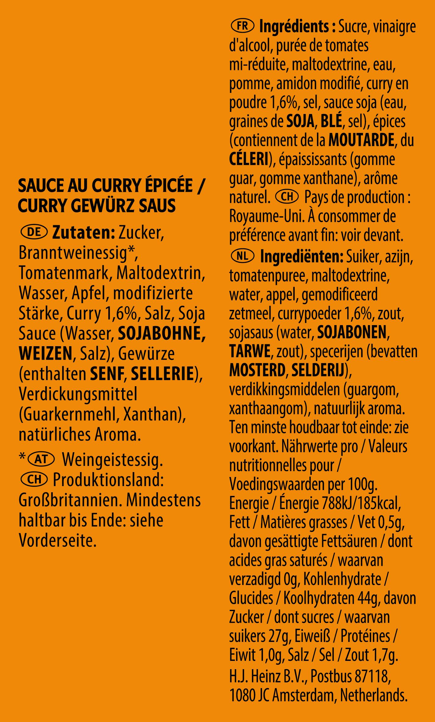Heinz Curry Gewurz sachet 17ml