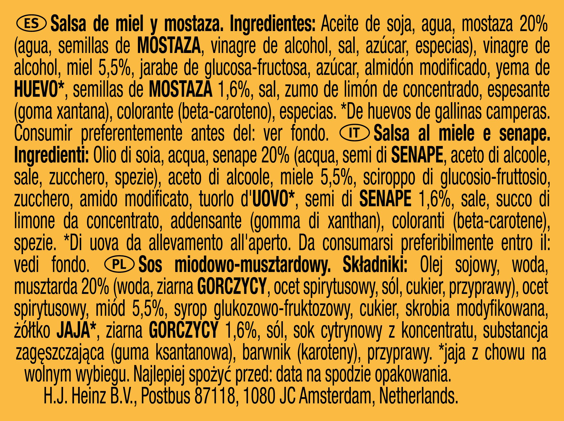 Kremowa musztarda miodowa Heinz 25g dip pot