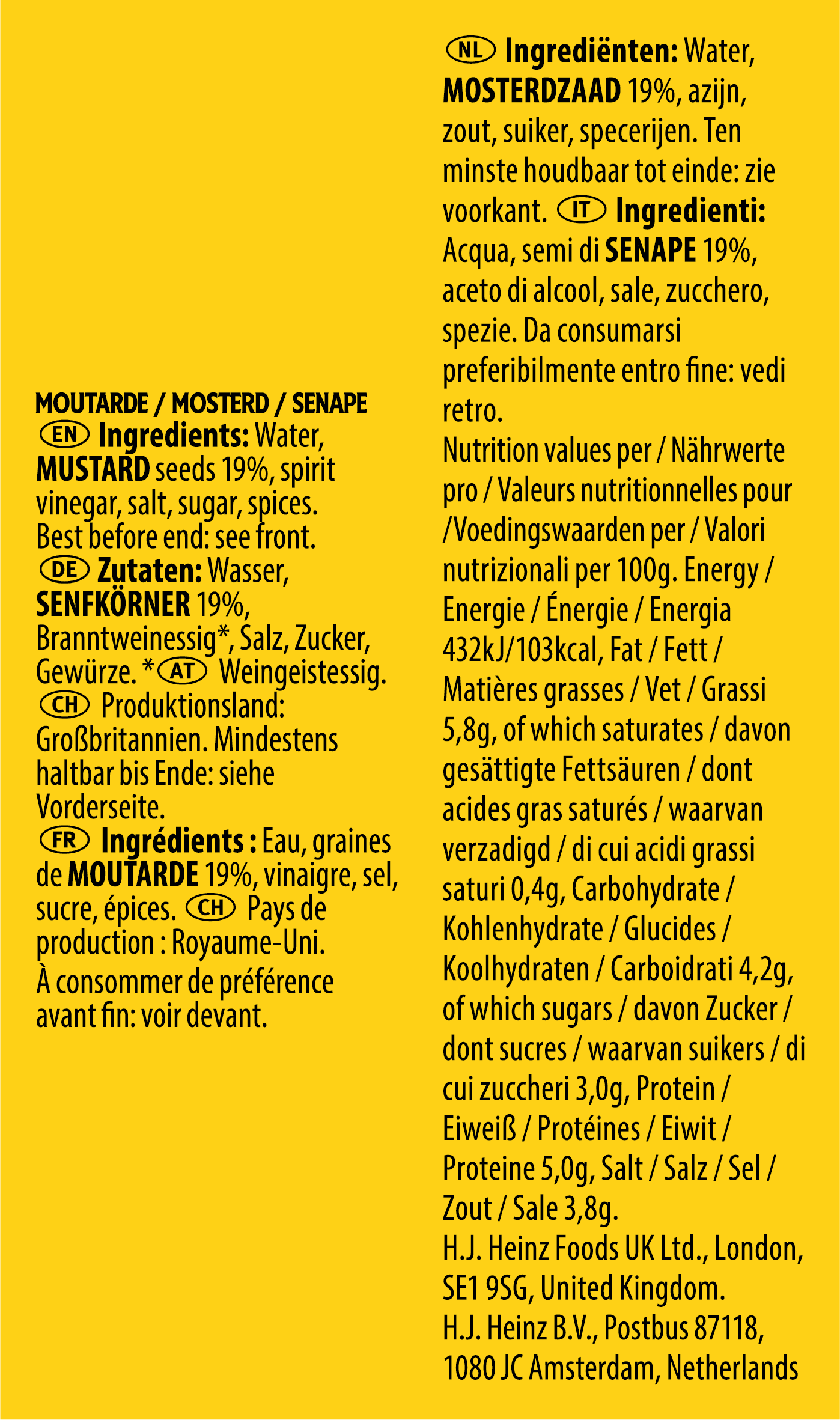 Heinz Sachets Senf 17ml