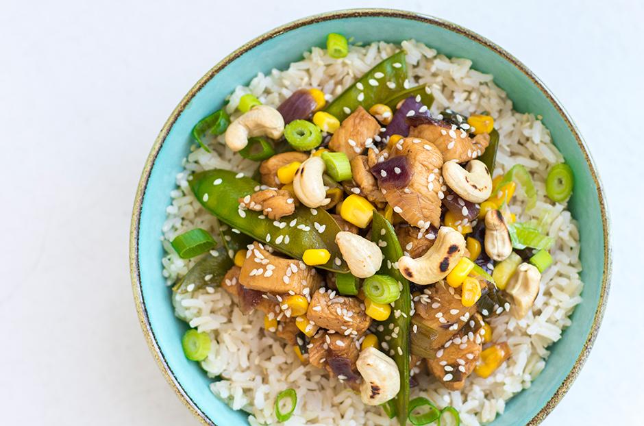 Kip teriyaki met peultjes en maïs